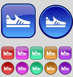 Running shoe icon sign a set of twelve vintage vector