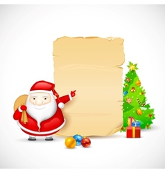 Santa with christmas gift vector