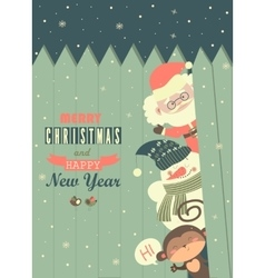 Santamonkeysnowman wishing you merry christmas vector