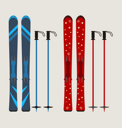 set of ski and ski sticks - winter equipment - vector image vector image
