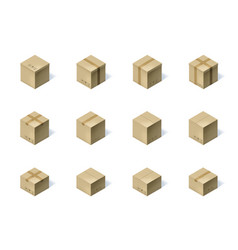 Set of twelve isometric cardboard boxes isolated vector