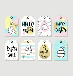 set with happy easter gift tags and cards with vector image vector image