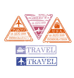 Ship and airplane travel stamps in triangular and vector