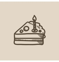 Slice of cake with candle sketch icon vector image vector image