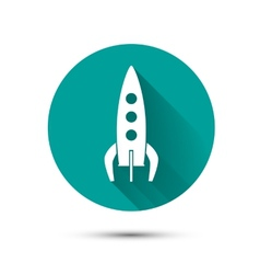 Spaceship icon on green background with shadow vector image