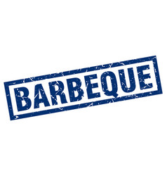 square grunge blue barbeque stamp vector image vector image