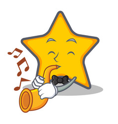 Star character cartoon style with trumpet vector