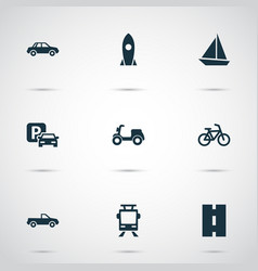transport icons set collection of automobile vector image vector image