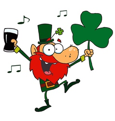 Leprechaun dancing with a glass of beer vector