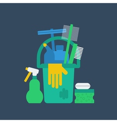 Products for cleaning home house chores bucket and vector image