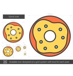 Donut line icon vector