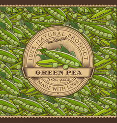 Vintage green peas label on seamless pattern vector
