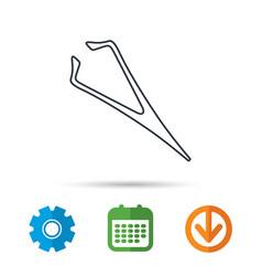 eyebrow tweezers icon cosmetic equipment sign vector image