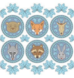 Set of six labels with muzzles of animals vector