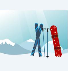 snowboard and ski in the ski mountain resort vector image
