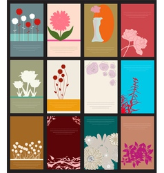 Set of 12 floral cards vector