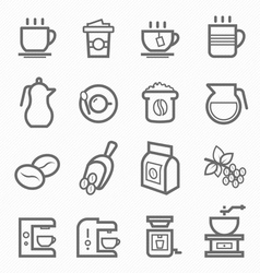 Coffee symbol line icon set vector