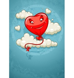 Red heart baloon flying among vector