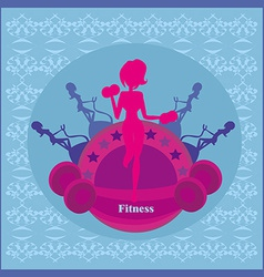 Abstract fitness girl training card vector