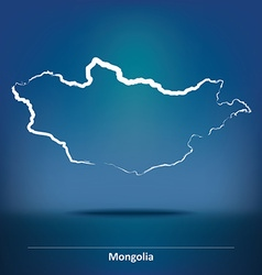 Doodle map of mongolia vector