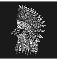 Zentangle stylized head of eagle in feathered war vector