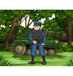 Soldier with gun by the tank vector