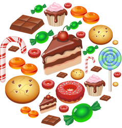 Assorted sweets colorful background with chocolate vector