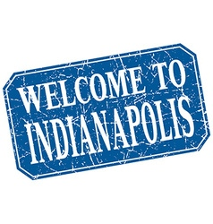 Welcome to indianapolis blue square grunge stamp vector