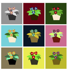 assembly flat icons violet in the pot vector image