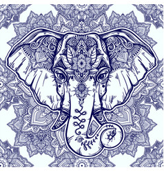 beautiful floral paisley elephant head pattern vector image