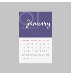 Calendar 2017 months january week starts sunday vector