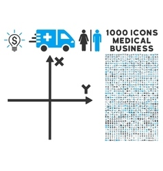 Cartesian axes icon with 1000 medical business vector