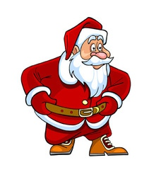 cartoon Santa Claus looking curiously vector image
