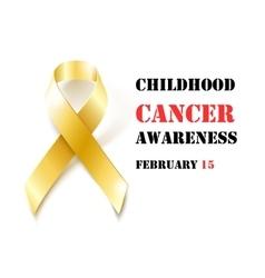 Childhood cancer awareness gold ribbon banner vector