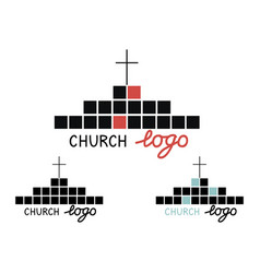 church logo with cross and cubes vector image