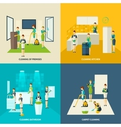Cleaning in rooms flat icons set vector