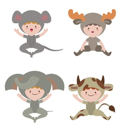 Cute baby animals characters set vector image