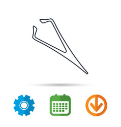 Eyebrow tweezers icon cosmetic equipment sign vector