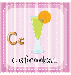 Flashcard letter c is for cocktail vector image