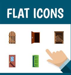 Flat icon door set of approach wooden fence door vector