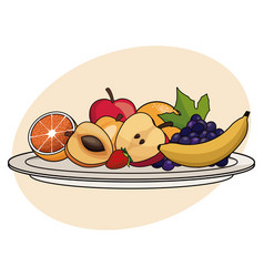 Fruit plate food healthy image vector