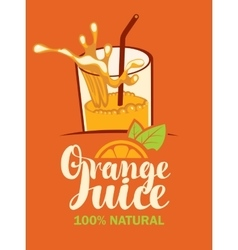 Glass of fresh orange juice vector