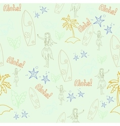 Hawaii cocktail seamless pattern aloha girl vector