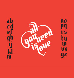 Heart shape lettering vector