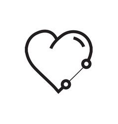 Icon heart pen tool style vector