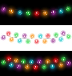 led Christmas lights on black and white vector image vector image