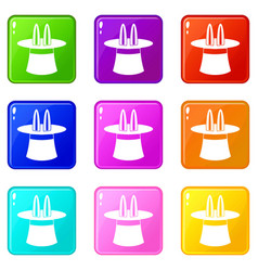 rabbit ears appearing from a top magic hat set 9 vector image vector image