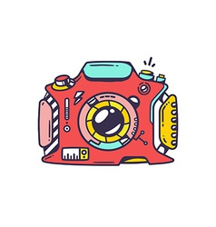 Retro red photo camera vector image