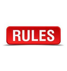 Rules red 3d square button isolated on white vector image