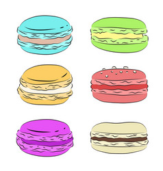 set of various drawing multicolored macaroons vector image